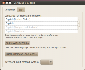 Language and Text Screen